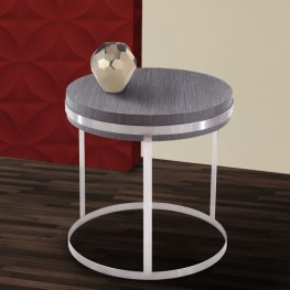 Sunset End Table in Brushed Steel finish with Gray top
