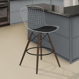 Armen Living Taylor Wire Barstool in Walnut Wood legs with Chrome and Black Faux Leather Seat Cushion