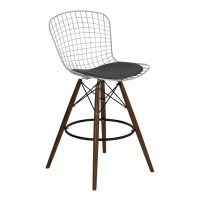 Armen Living Taylor Wire Barstool in Walnut Wood legs with Chrome and Gray Faux Leather Seat Cushion