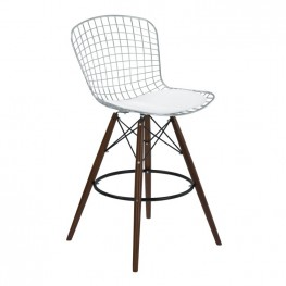 Armen Living Taylor Wire Barstool in Walnut Wood legs with Chrome and White Faux Leather Seat Cushion