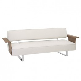 Taft Mid-Century Convertible Futon in Beige Tufted Fabric and Walnut Wood