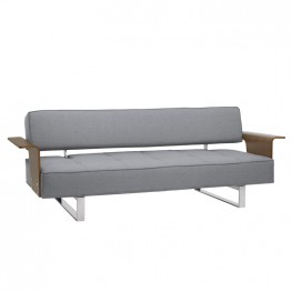 Armen Living Taft Mid-Century Convertible Futon in Gray Tufted Fabric and Walnut Wood