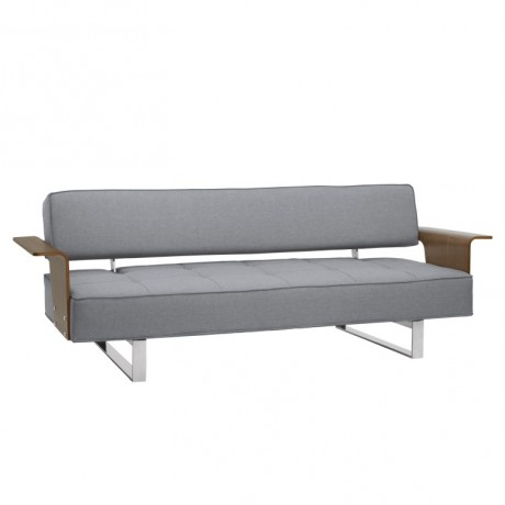 Taft Mid-Century Convertible Futon in Gray Tufted Fabric and Walnut Wood