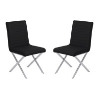 Armen Living Tempe Contemporary Dining Chair in Black Faux Leather with Brushed Stainless Steel Finish - Set of 2