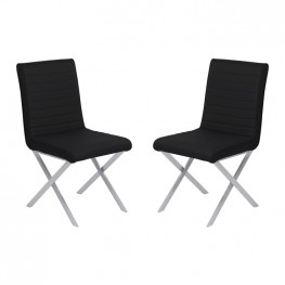 Tempe Contemporary Dining Chair in Black Faux Leather with Brushed Stainless Steel Finish - Set of 2