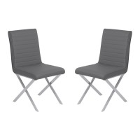 Tempe Contemporary Dining Chair in Gray Faux Leather with Brushed Stainless Steel Finish - Set of 2