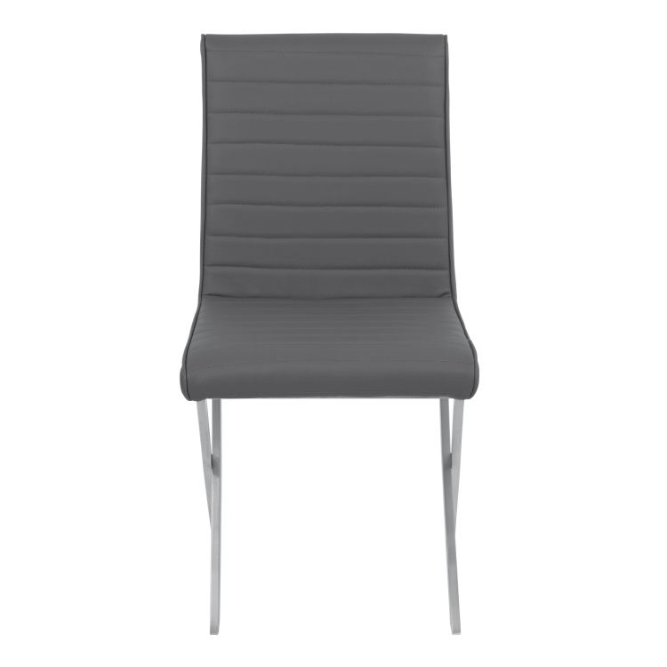 Tempe Contemporary Dining Chair In Gray Faux Leather With Brushed Stainless  Steel Finish   Set Of