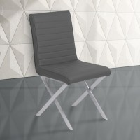 Armen Living Tempe Contemporary Dining Chair in Gray Faux Leather with Brushed Stainless Steel Finish - Set of 2