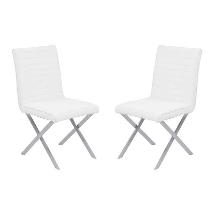 Armen Living Tempe Contemporary Dining Chair In White Faux Leather With  Brushed Stainless Steel Finish   Set ...