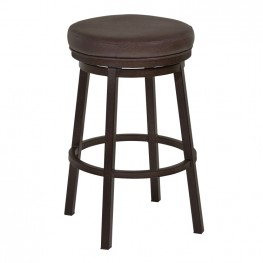 "Tilden 26"" Counter Height Metal Swivel Backless Barstool in Ford Brown Faux Leather and Auburn Bay Finish"