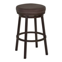 "Armen Living Tilden 30"" Bar Height Metal Swivel Backless Barstool in Ford Brown Faux Leather and Auburn Bay Finish"