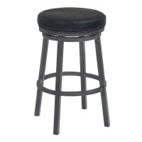 "Armen Living Tilden 26"" Counter Height Metal Swivel Backless Barstool in Ford Black Faux Leather and Mineral Finish"