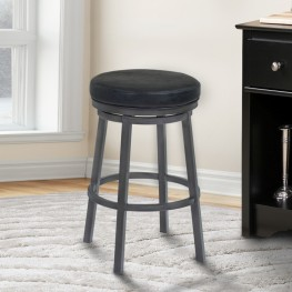 "Tilden 30"" Bar Height Metal Swivel Backless Barstool in Ford Black Faux Leather and Mineral Finish"
