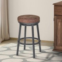 "Armen Living Tilden 26"" Counter Height Metal Swivel Backless Barstool in Bandero Tobacco Fabric and Mineral Finish"