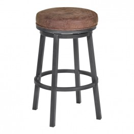 "Tilden 30"" Bar Height Metal Swivel Backless Barstool in Bandero Tobacco Fabric and Mineral Finish"