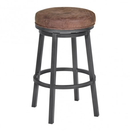 "Armen Living Tilden 30"" Bar Height Metal Swivel Backless Barstool in Bandero Tobacco Fabric and Mineral Finish"