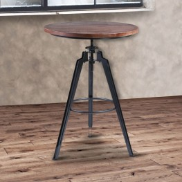 Armen Living Tribeca Pub Table in Industrial Gray finish with Pine Wood Table top