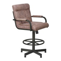 """Armen Living Vancouver 26"""" Counter Height Tilt Swivel Metal Barstool in Mineral Finish and Bandero Tobacco Fabric"""