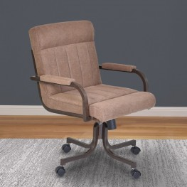 Armen Living Vancouver Caster Tilt Swivel Arm Chair in Auburn Bay Finish and Brown Microfiber