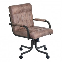 Armen Living Vancouver Caster Tilt Swivel Arm Chair in Mineral Finish and Bandero Tobacco Fabric
