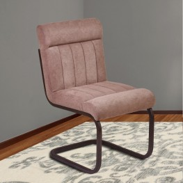Armen Living Vancouver Metal Side Chair in Auburn Bay and Brown Microfiber
