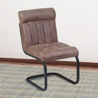 Armen Living Vancouver Metal Side Chair in Mineral Finish and Bandero Tobacco Fabric