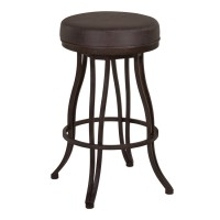 "Armen Living Ventura 26"" Counter Height Metal Swivel Backless Barstool in Bandero Espresso Fabric and Auburn Bay Finish"