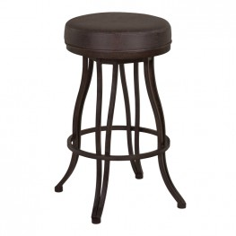 "Ventura 30"" Bar Height Metal Swivel Backless Barstool in Bandero Espresso Fabric and Auburn Bay Finish"