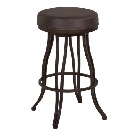"Armen Living Ventura 30"" Bar Height Metal Swivel Backless Barstool in Bandero Espresso Fabric and Auburn Bay Finish"