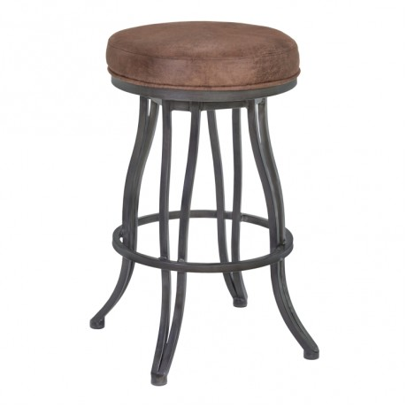"Armen Living Ventura 26"" Counter Height Metal Swivel Backless Barstool in Bandero Tobacco Fabric and Mineral Finish"