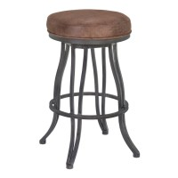 "Ventura 30"" Bar Height Metal Swivel Backless Barstool in Bandero Tobacco Fabric and Mineral Finish"