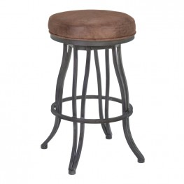 "Armen Living Ventura 30"" Bar Height Metal Swivel Backless Barstool in Bandero Tobacco Fabric and Mineral Finish"