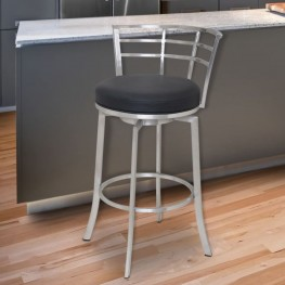 "Armen Living Viper 26"" Barstool in Brushed Stainless Steel finish with Black Pu upholstery"