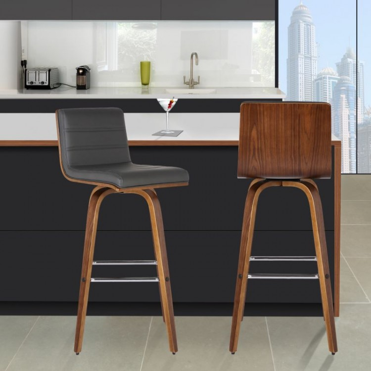 Armen Living Vienna 26 Quot Barstool In Walnut Wood Finish