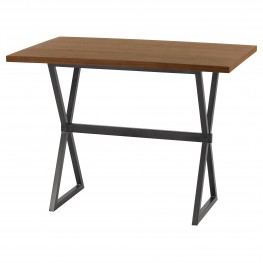 Valencia Contemporary Rectangular Bar Table in Mineral Finish with Walnut Wood Top
