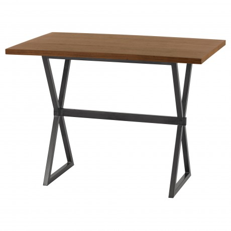 Armen Living Valencia Contemporary Rectangular Bar Table in Mineral Finish with Walnut Wood Top