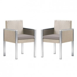 Armen Living Watercube Outdoor White Rattan Patio Dining Chair with Aluminum Arms and Brown Fabric Cushion - Set of 2