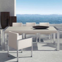 Armen Living Watercube Outdoor White Rattan Patio Dining Table in Aluminum Finish with Clear Glass Top