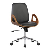 Armen Living Wallace Mid-Century Office Chair in Chrome finish with Black Faux Leather and Walnut Veneer Back
