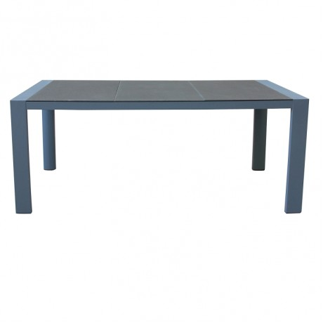 Armen Living Westport Outdoor Patio Dining Table in Gray Powder Coated Finish with Stone Glass Top