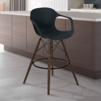Armen Living Xavier Arm Barstool in Walnut Wood and Durable Molded Plastic Black Seat