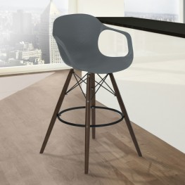 Armen Living Xavier Arm Barstool in Walnut Wood and Durable Molded Plastic Gray Seat