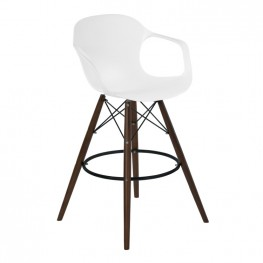 Armen Living Xavier Arm Barstool in Walnut Wood and Durable Molded Plastic White Seat