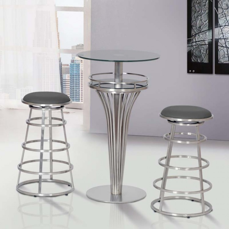Yukon Contemporary Bar Table In Stainless Steel and Gray Frosted ...