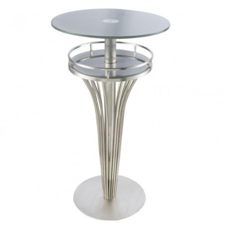 Yukon Contemporary Bar Table In Stainless Steel and Gray Frosted Tempered Glass