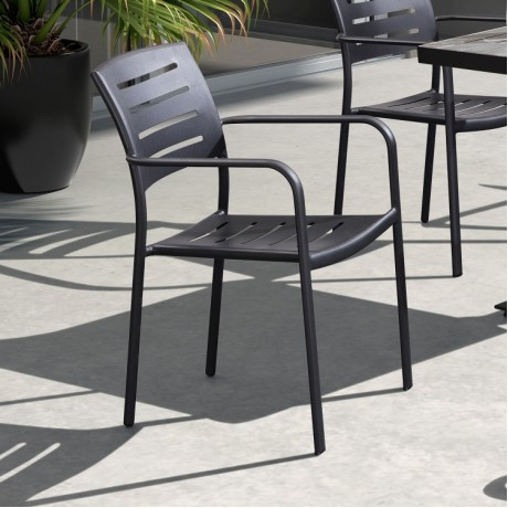Zander Stackable Outdoor Patio Dining Chair in Gray Finished Cast Aluminum - Set of 2