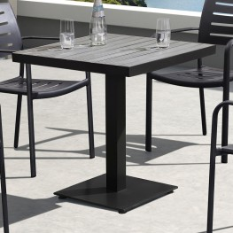 Armen Living Zander Outdoor Patio Dining Table in Brown Finished Cast Aluminum with Wood Top