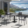 Zander Outdoor Patio Dining Table in Gray Finished Cast Aluminum with Faux-Wood Top