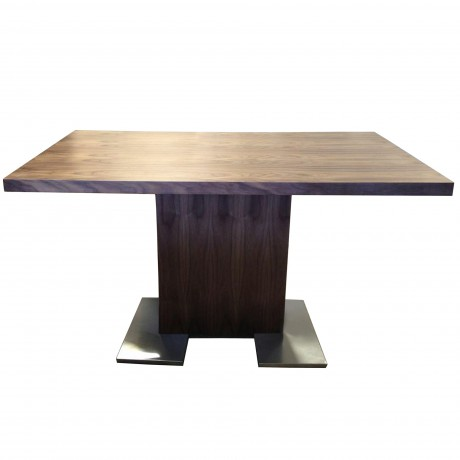 Armen Living Zenith Contemporary Dining Table with Brushed Stainless Steel Base and  Walnut Veneer Finish