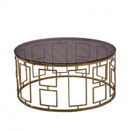 Zinc Contemporary Coffee Table In Shiny Gold With Smoked Glass Top